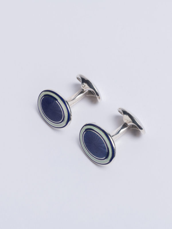 Cuff Lapis Lazuli Blue Enamel Oval With White Surround Jh