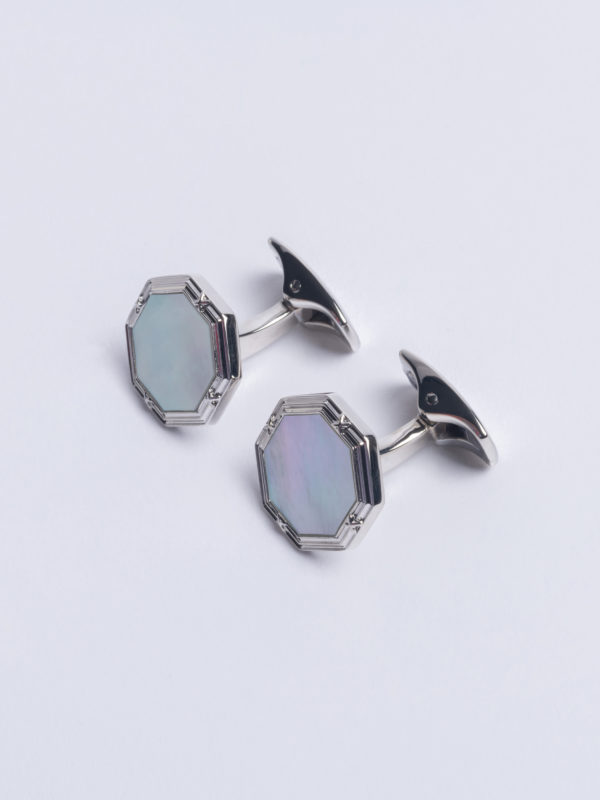 Cuff Mother Of Pearl Octagon On Flat Silver T Bar Jh
