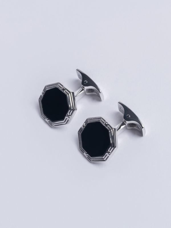 Cuff Onyx Octagon On Flat Silver T Bar Jh