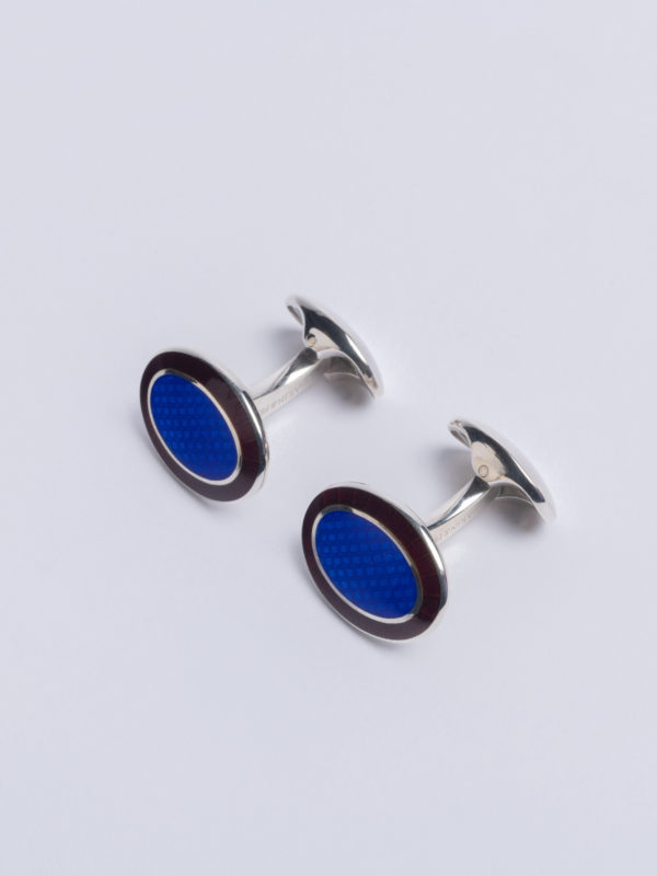 Cuff Royal Blue Oval Centre And Burgundy Enamel Outer Ring Jh