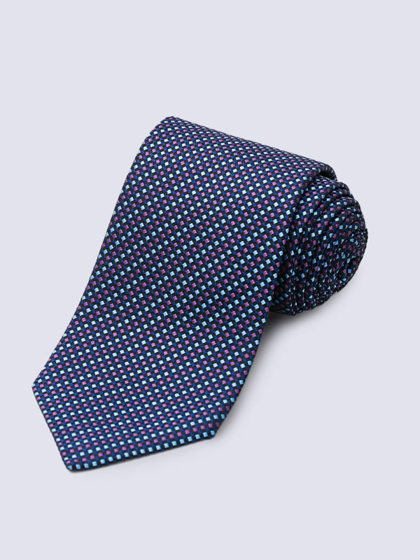 Tie Diamond Cross Weave Purple And Light Blue On Navy Lr
