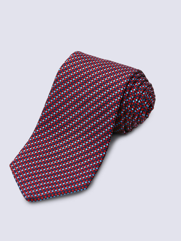Tie Diamond Cross Weave Red And Light Blue On Navy Lr