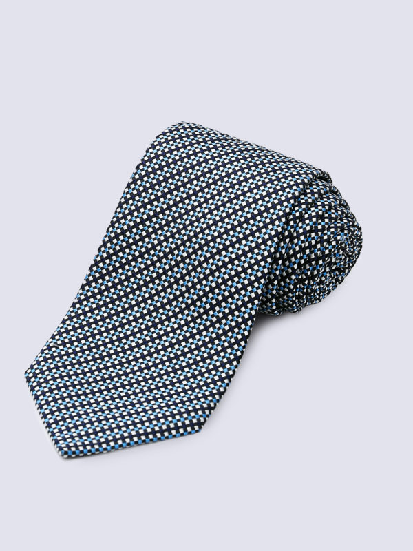 Tie Diamond Cross Weave Silver, White And Light Blue On Navy Lr