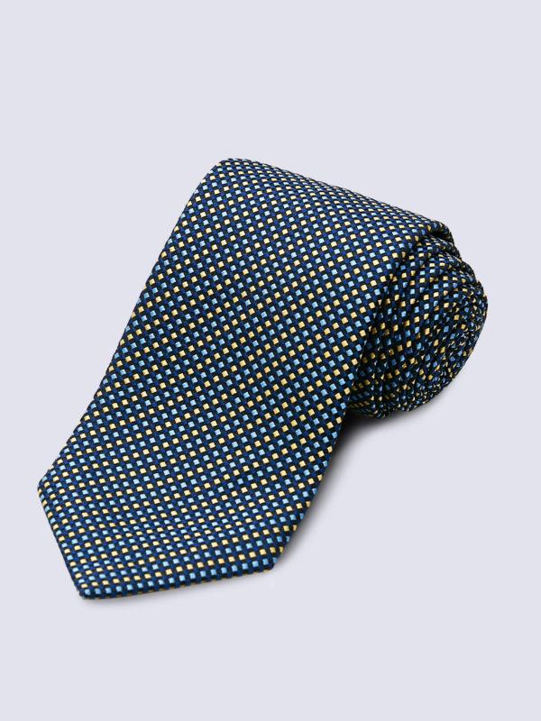 Tie Diamond Cross Weave Yellow And Blue On Navy Lr