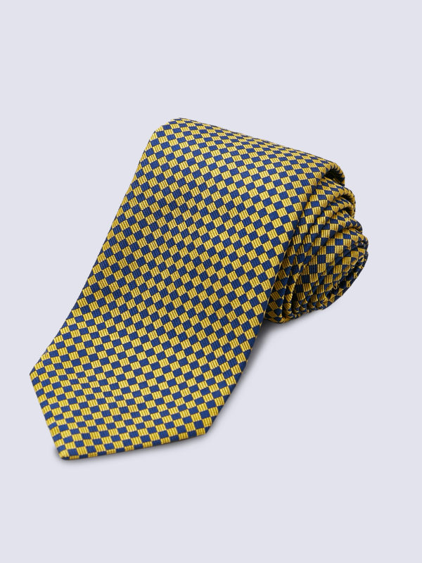 Tie Diamond Yellow And Navy Lr