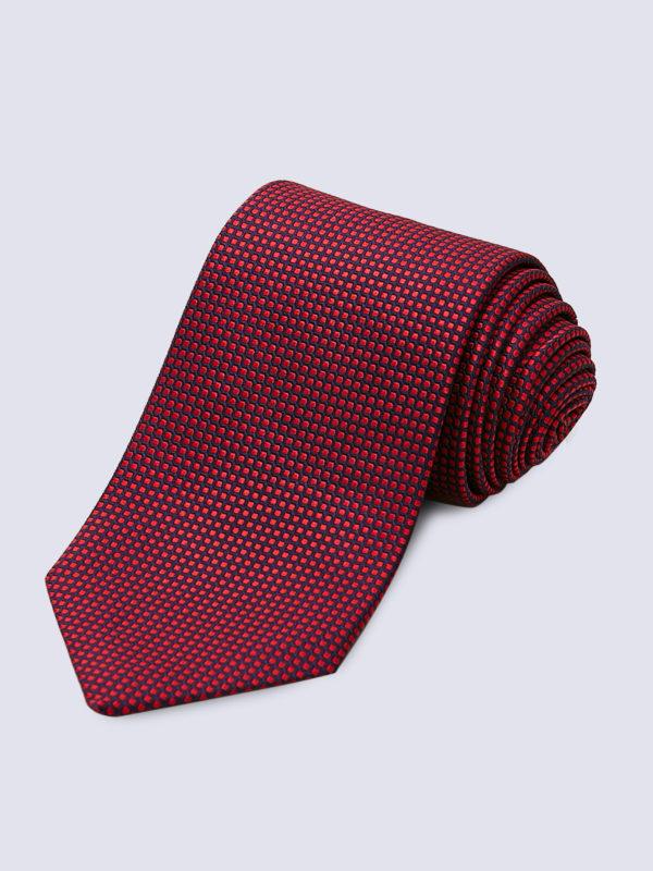 Tie Dot Red On Navy Lr