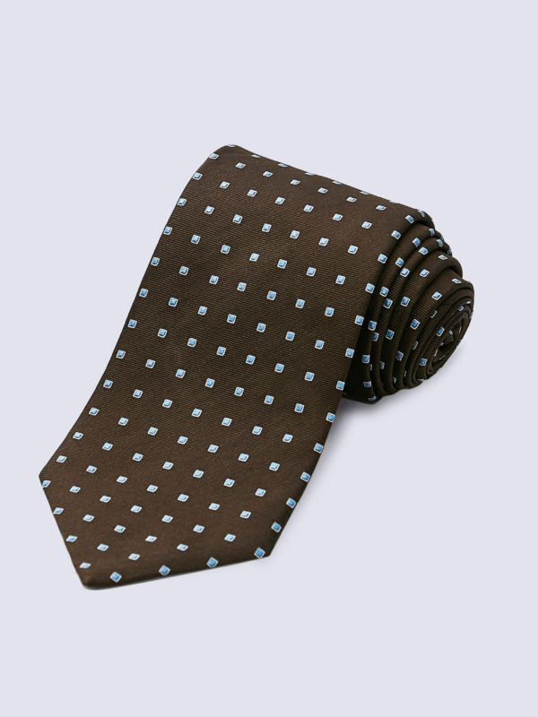 Tie Dotted Square Pale Blue And White On Brown Lr