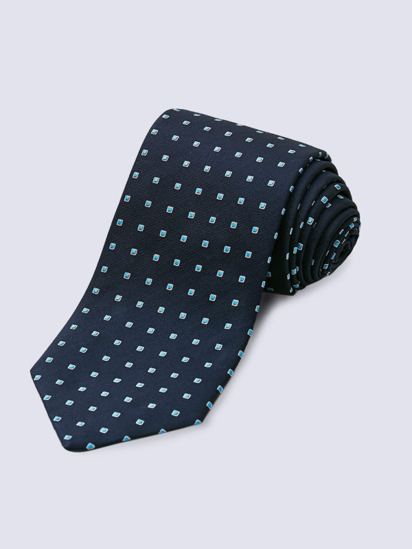 Tie Dotted Square Pale Blue And White On Navy Lr
