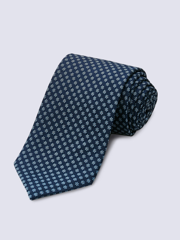 Tie Flower Light Blue On Navy Lr