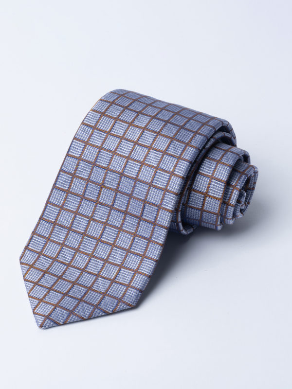 Tie Gold Over Check On Blue And Silver Square Jh