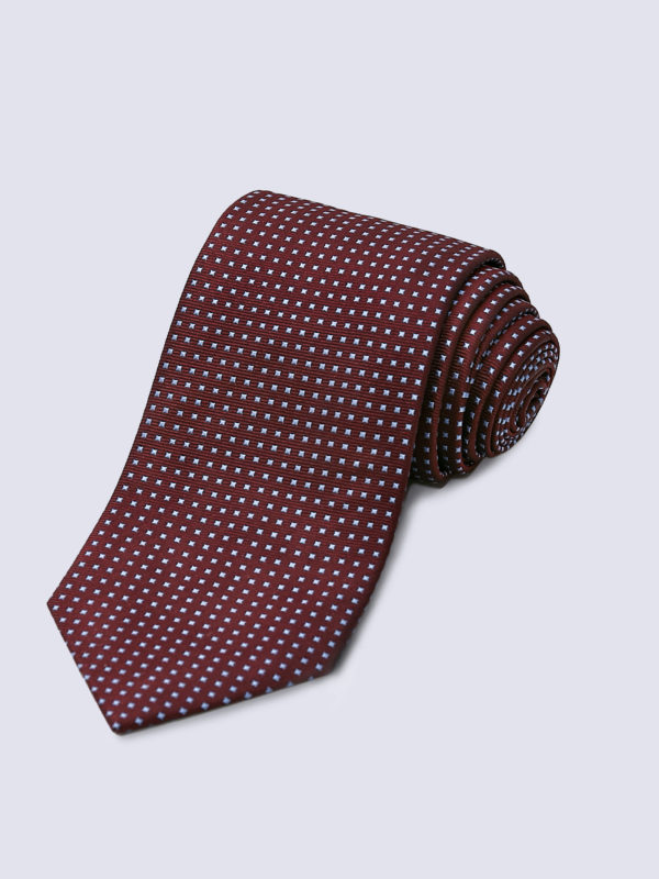 Tie Mini Square Pale Blue On Burgundy Lr