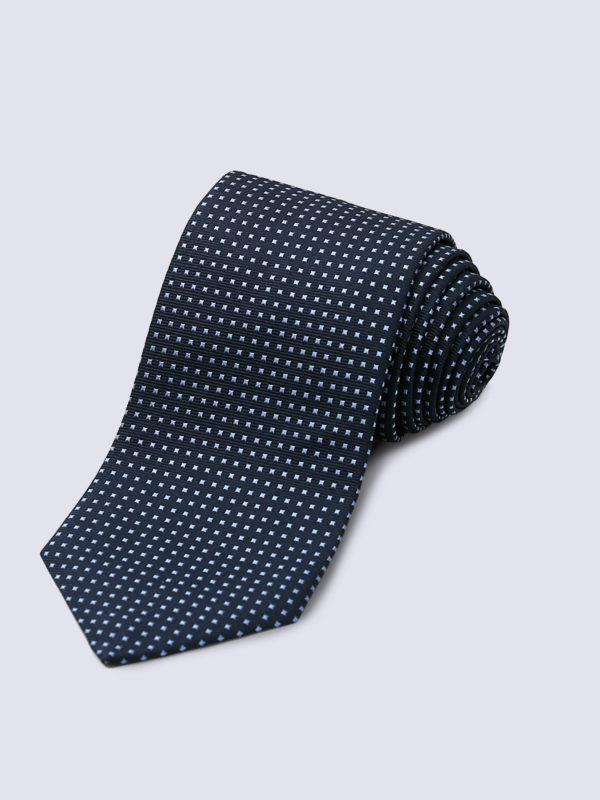 Tie Mini Square Pale Blue On Navy Lr