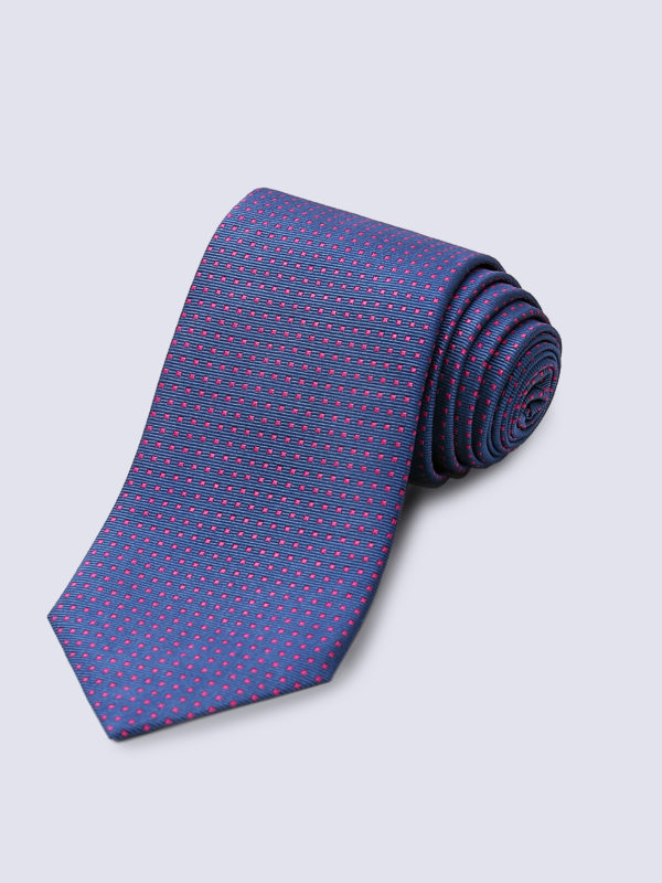 Tie Mini Square Pink On Mid Blue Lr