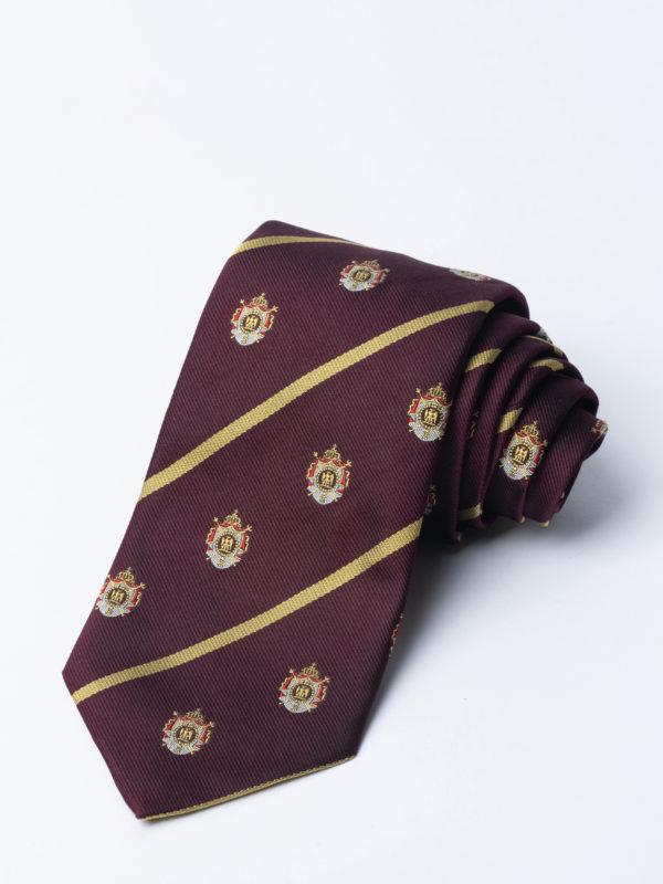 Tie Napoleonic Crested Burgundy Jh