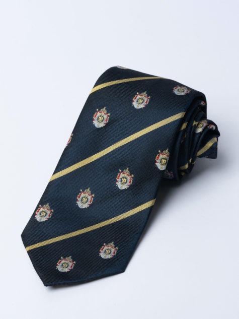 Tie Napoleonic Crested Navy Jh
