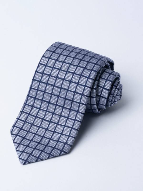 Tie Navy Over Check On Silver And Grey Blue Square Jh