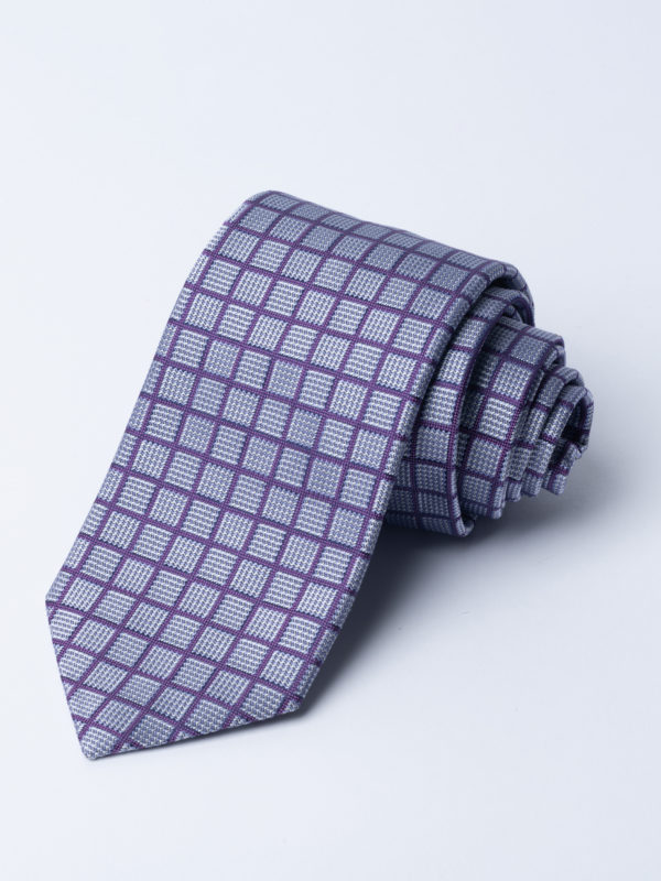 Tie Purple Over Check On Silver And Grey Blue Square Jh