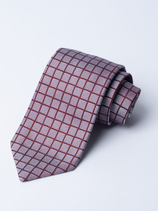 Tie Red Over Check On Silver And Grey Blue Square Jh