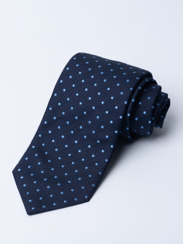 Tie Classic Polka Dot Pale Blue On Navy Jh