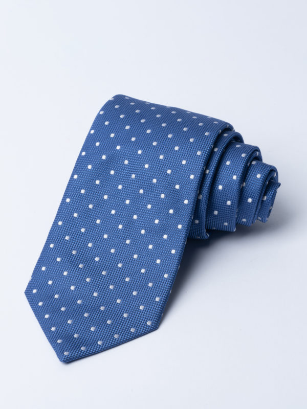 Tie Classic Polka Dot White On Mid Blue Jh