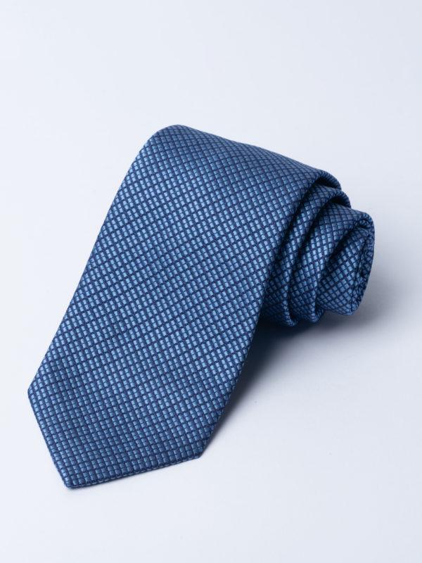 Tie Four Square Diamond Check Blue And Navy Jh
