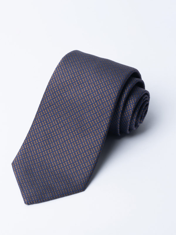 Tie Four Square Diamond Check Brown And Navy Jh