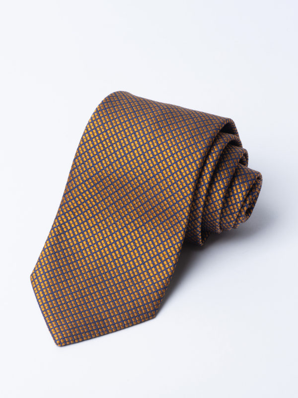 Tie Four Square Diamond Check Gold On Navy Jh