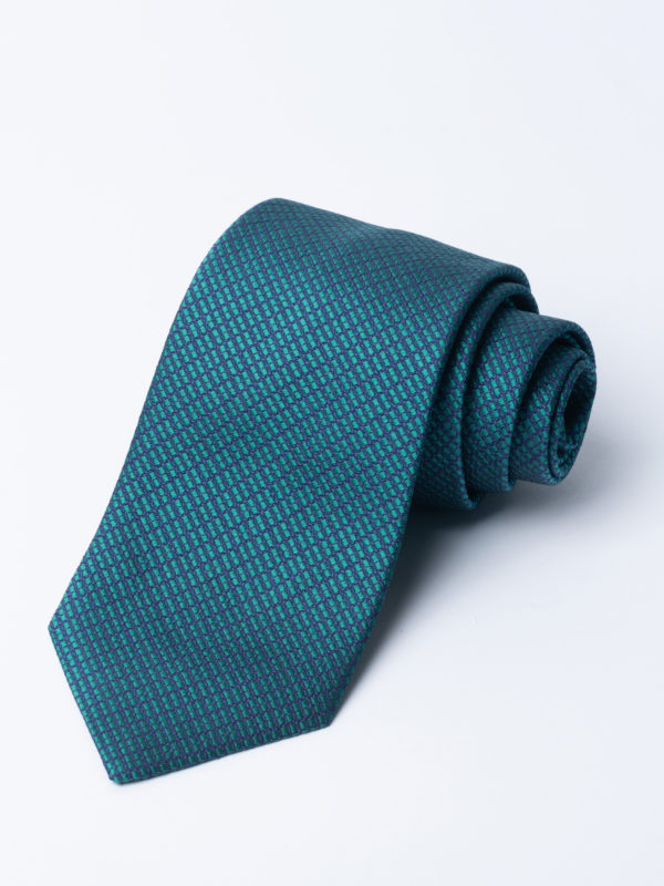 Tie Four Square Diamond Check Green And Navy Jh