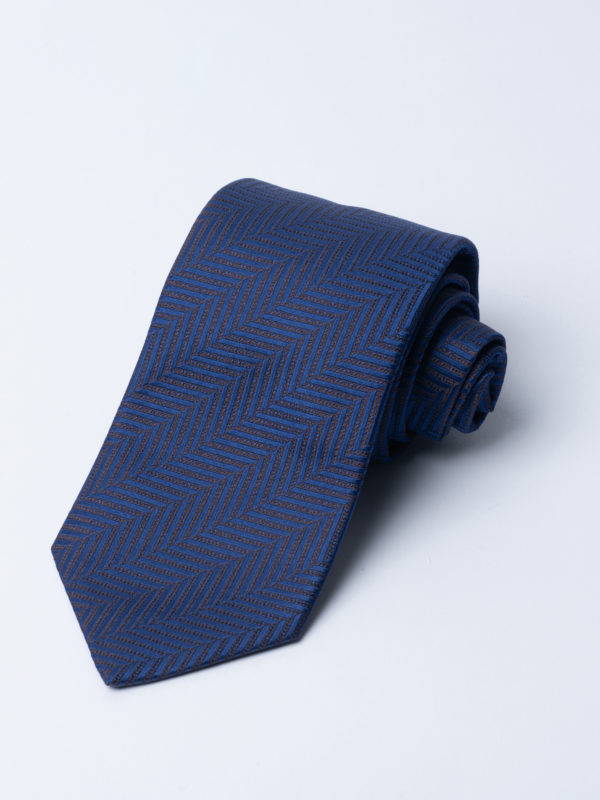 Tie Herringbone Brown On Navy Jh