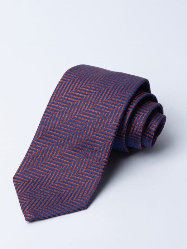Tie Herringbone Orange On Navy Jh