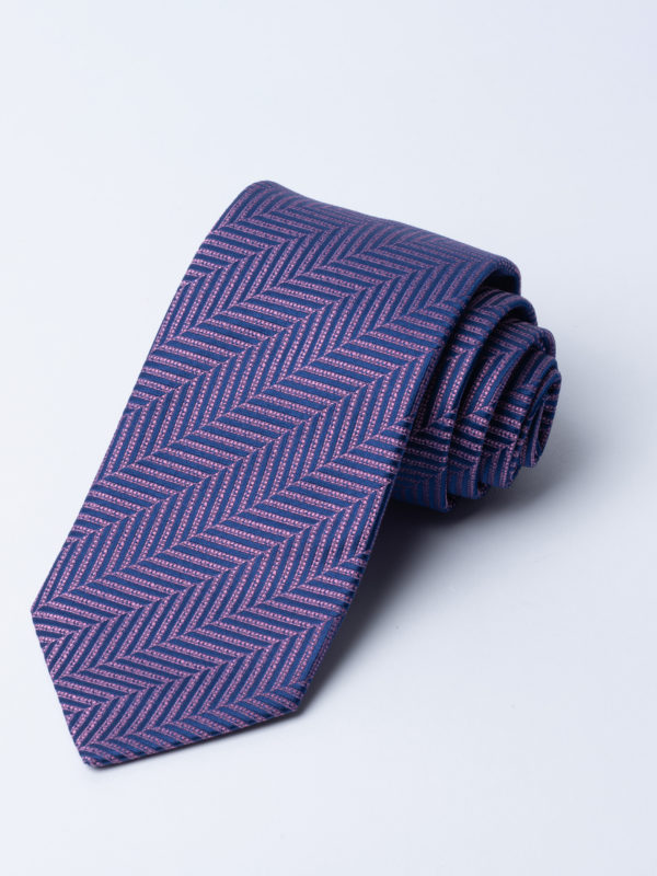 Tie Herringbone Pink On Navy Jh