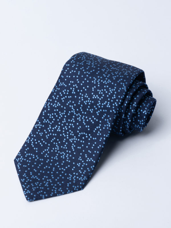 Tie Irregular Dot Blue On Navy Jh