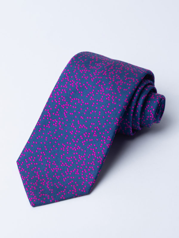 Tie Irregular Dot Hot Pink On Navy Jh