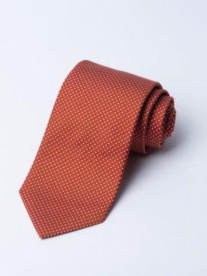 Tie Nano Spot White On Burnt Orange Jh