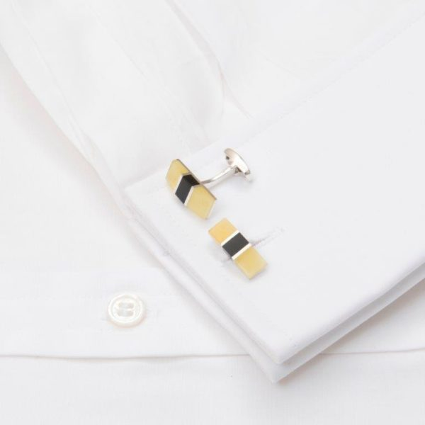 Cufflinks Amber And Onyx Oblong