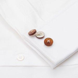 Cufflinks Cognac Amber Chain Silver Button With Silver Cross Stitch