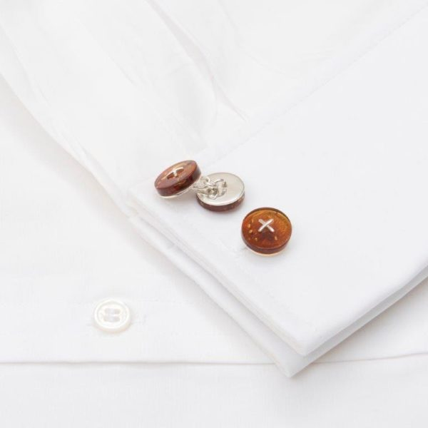 Cufflinks Cognac Amber Chain Silver Button With Silver Cross Stitch