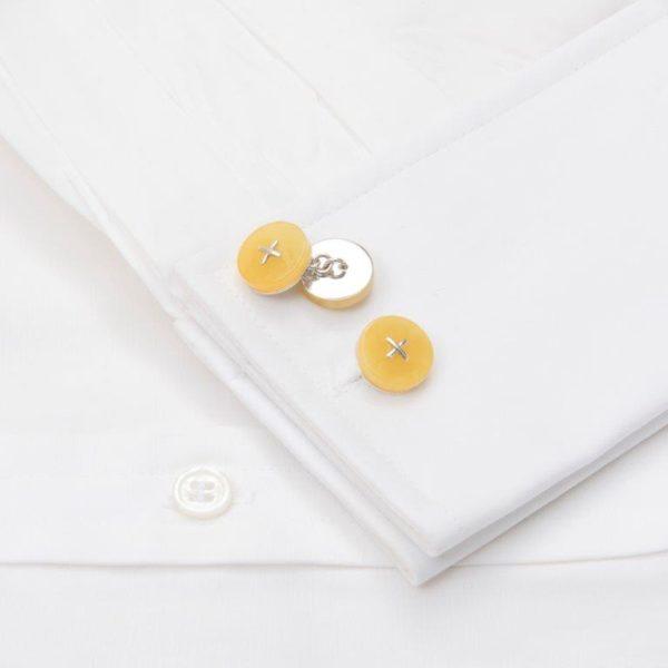 Cufflinks Cream Amber Chain Linked Silver Cross Stitch