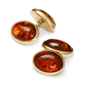 Beata Gregorczyk, The Baltic Collection, Cognac Baltic Amber Gold Plated Silver Cufflinks